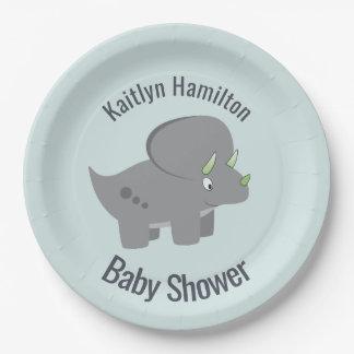 新しいお母さんに名誉を与えるかわいい恐竜|のベビーシャワー ペーパープレート