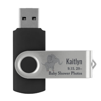 新しいお母さんに名誉を与えるかわいい象|のベビーシャワー USBフラッシュドライブ