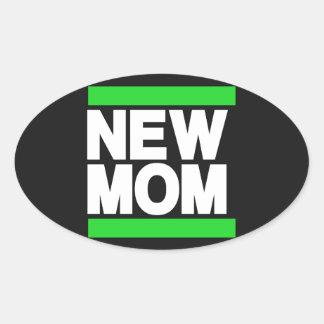 新しいお母さんの緑 楕円形シール