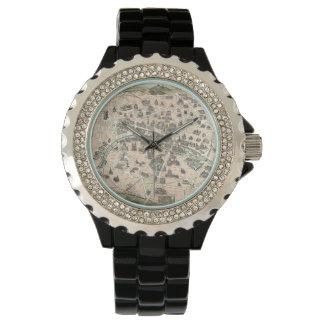 新しいのパリの記念碑的な地図 腕時計