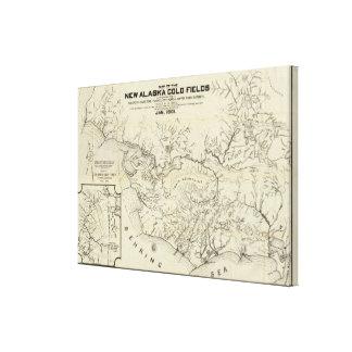 新しいアラスカの金ゴールド分野の地図 キャンバスプリント