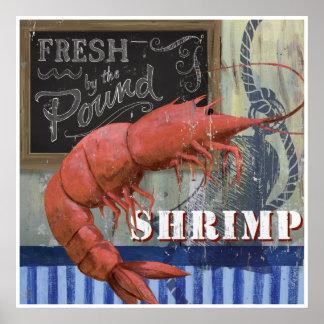 新しいエビの魚市場のスタイルの芸術 ポスター