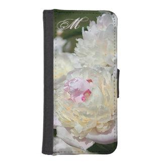 新しいピンクおよび白いシャクヤクの水彩画 iPhoneSE/5/5sウォレットケース
