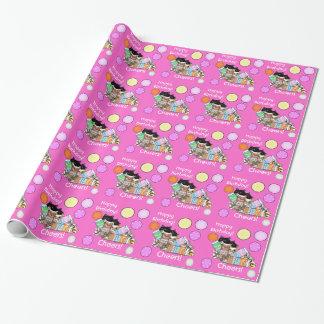 新しいピンク猫の誕生日の応援! ギフトの包装紙 ラッピングペーパー
