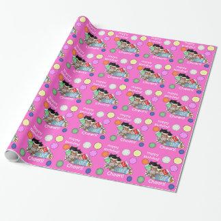 新しいピンク猫及びミルクの誕生日プレゼントの包装紙 ラッピングペーパー