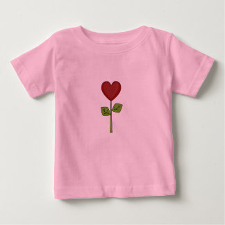 新しいベビー-赤いハートの花 ベビーTシャツ