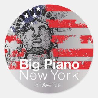 新しいヨーククラシックの円形のステッカーの大きいピアノアイコン ラウンドシール