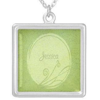 新しいレモングラスの春の緑の名前をカスタムする シルバープレートネックレス