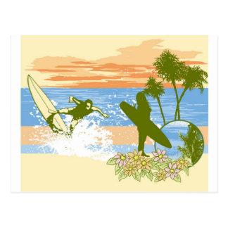 新しいヴィンテージのサーファーのハワイのビーチの女の子の男の子 ポストカード