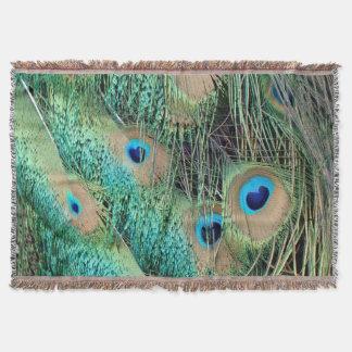 新しい不機嫌を用いる美しい孔雀の羽 スローブランケット