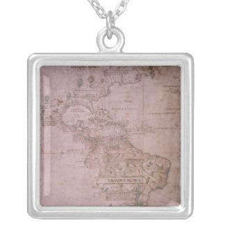 新しい世界の地図、c.1532 シルバープレートネックレス