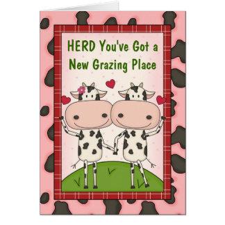 新しい住宅購入者のお祝い-牛 グリーティングカード