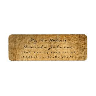 新しい住所セピア色の古い金ゴールドの化粧VIP 返信用宛名ラベル