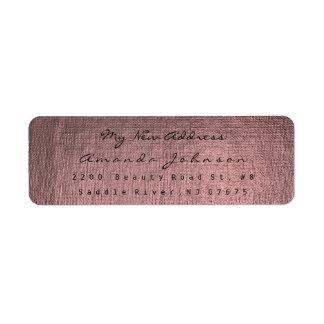 新しい住所ピンクのバラのバーガンディの金化粧の灰色 返信用宛名ラベル