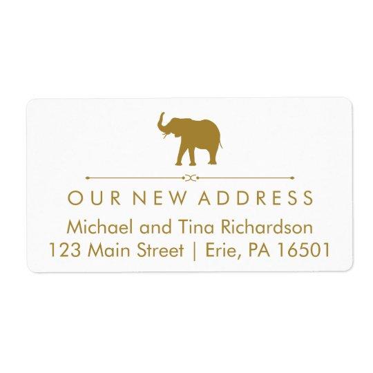 新しい住所魅力的な白および金ゴールド象 発送ラベル