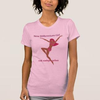 新しい千年間の女の子ブラウン Tシャツ