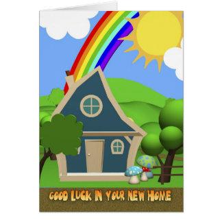 新しい家の漫画の家の挨拶状 グリーティングカード
