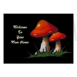 新しい家への歓迎: 黒のToadstools: 芸術 カード