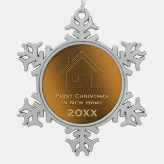 新しい家20XXの愛らしいデザインの初めてのクリスマス スノーフレークピューターオーナメント
