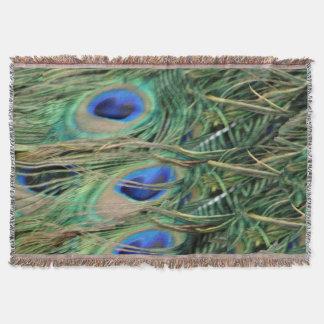 新しい成長を用いる孔雀の尾羽の青い目 スローブランケット
