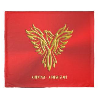 新しい日、再出発、金フェニックス、王室のな赤 掛け布団カバー