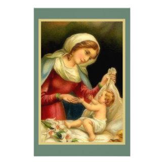 新しい母メリーベビーのイエス・キリストユリのガチョウ 便箋