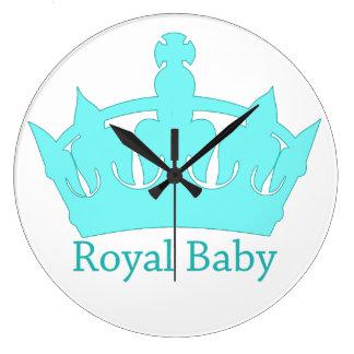 新しい王子-王室のな赤ん坊の養樹園 ラージ壁時計