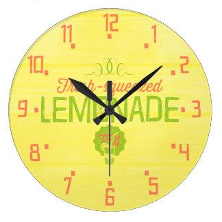 新しい絞られたレモネード ラージ壁時計