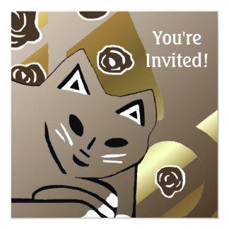 新しい金ゴールド及びココア猫の誕生日のパーティの招待状 カード