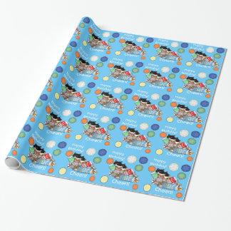 新しい青の猫及びミルクの誕生日プレゼントの包装紙 ラッピングペーパー