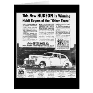新しい1940年のハドソンの自動車挨拶状 カード