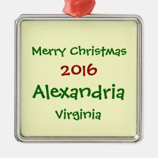 新しい2016年のアレキサンドリアヴァージニアのクリスマスのオーナメント メタルオーナメント