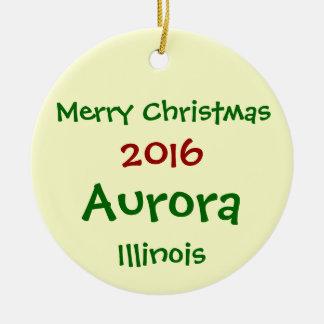 新しい2016年のオーロラのイリノイのメリークリスマスのオーナメント セラミックオーナメント