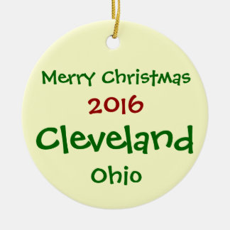 新しい2016年のクリーブランドオハイオ州のメリークリスマスのオーナメント セラミックオーナメント