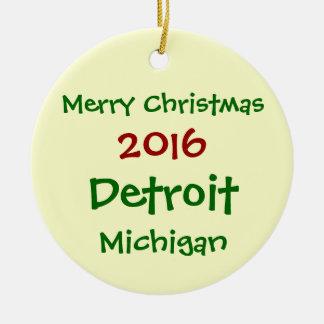 新しい2016年のデトロイトミシガン州メリークリスマスのオーナメント セラミックオーナメント