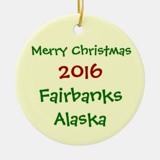 新しい2016年のフェアバンクスアラスカメリークリスマスのオーナメント セラミックオーナメント