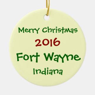 新しい2016年のフォートウェインインディアナのクリスマスのオーナメント セラミックオーナメント