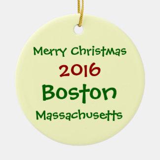 新しい2016年のボストンマサチューセッツクリスマスのオーナメント セラミックオーナメント