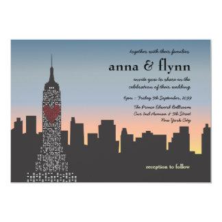 新しい|ヨーク|都市|日没|スカイライン|結婚|招待状 12.7 X 17.8 インビテーションカード