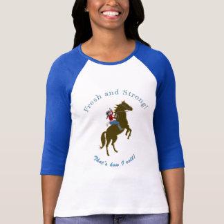 新しく及び強い女性のカーボーイ! 女性3/4のRaglan Tシャツ