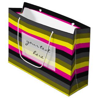新しく粋なネオン黄色いピンクの背部灰色のストライプの ラージペーパーバッグ