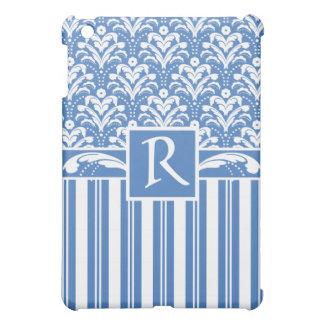 新しく、エレガントなアールデコの青および白いダマスク織 iPad MINIケース