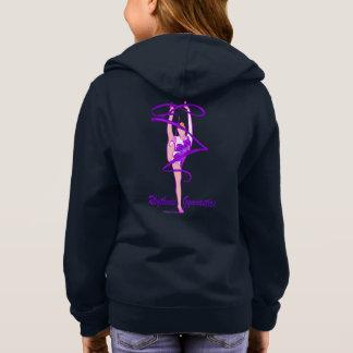 新体操の花のリボンの前部ジッパーのフード付きスウェットシャツ パーカ