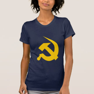 新厚く明るく黄色いハンマー及び鎌 Tシャツ