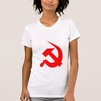 新厚く赤いハンマー及び鎌 Tシャツ