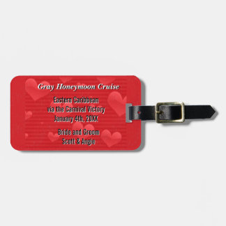 新婚旅行の巡航の名前入りな赤いハート ラゲッジタグ