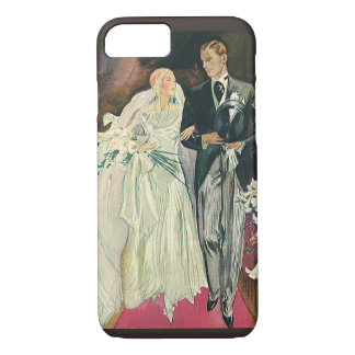 新婚者、幸せな花嫁およびGoomを結婚するヴィンテージ iPhone 8/7ケース