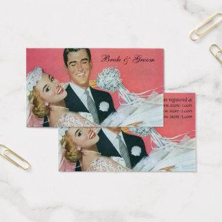 新婚者、花嫁を運んでいる新郎を結婚するヴィンテージ 名刺