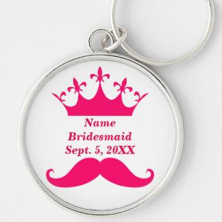 新婦付添人のピンクの髭およびティアラ円形のKeychain キーホルダー