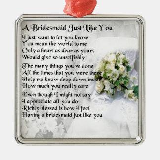 新婦付添人の詩の結婚式の花束 メタルオーナメント